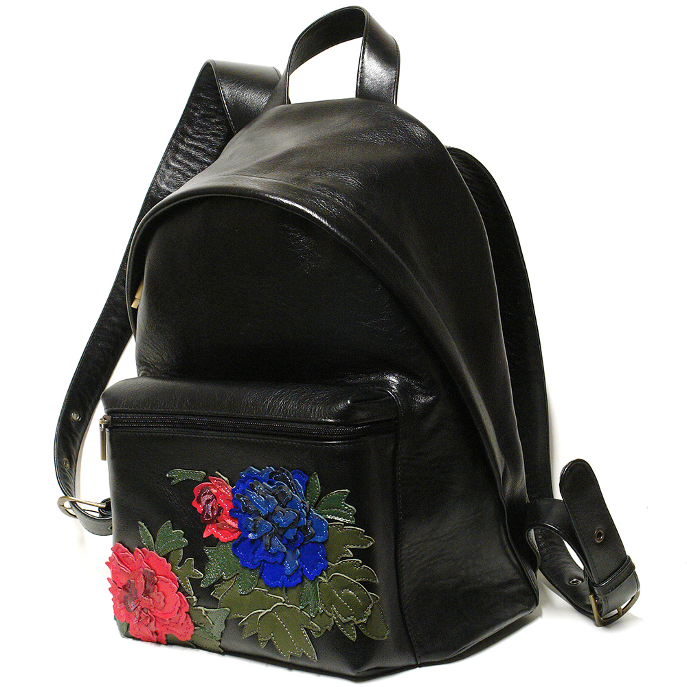 Backpack with peonies