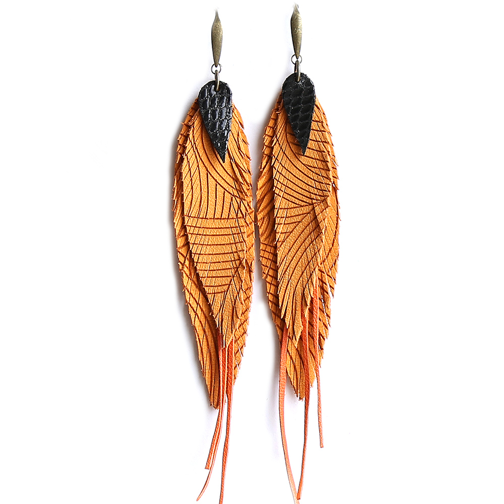 Orange earrings with stripes